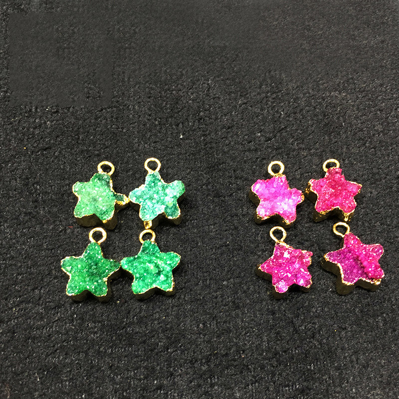 Cute green Gold Color Natural Crystal Quartz Agata Lapis Druzy Geode Connector star pattern gems jewelry without chain