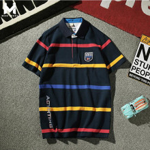 MOK MORS M 2017 Men 100% Cotton Polo Shirt Contrast Color Patchwork Brand Clothing Striped Polo Homme Fitness Camisa Mens Polo