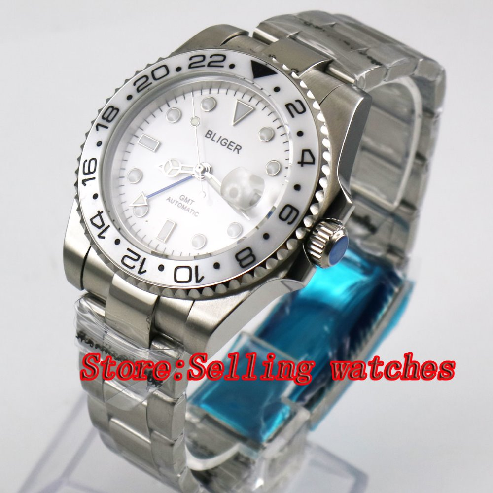 40mm Bliger White Dial White ceramic bezel GMT Luminous Hands Sapphire Glass Automatic Movement Men's Mechanical watches 40mm bliger white dial white ceramic bezel gmt luminous hands sapphire glass automatic movement men s mechanical watches