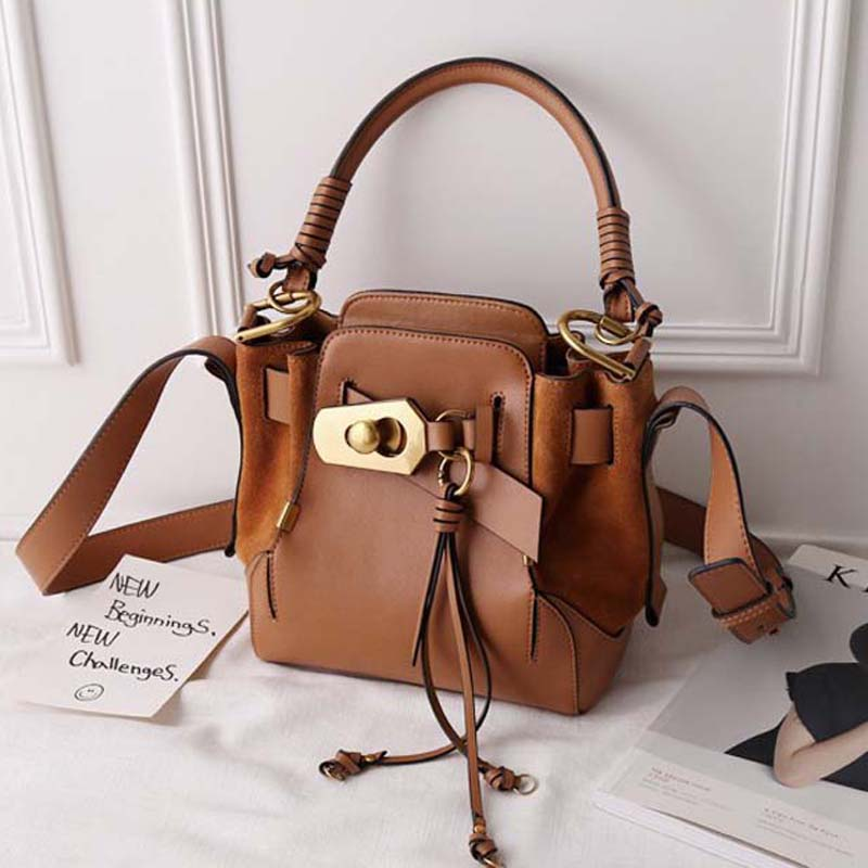 Fashion New Women Shoulder Bag Ladies Genuine Leather Handbags Designer Bags Famous Brand Women Single Vintage Solid Bucket new genuine leather women bag messenger bags casual shoulder bags famous brand fashion designer handbag bucket women totes 2017
