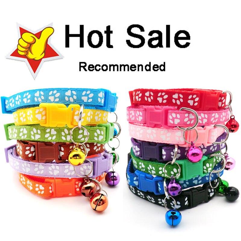 Wholesale Paw Collars 100 X Hot Cute Bell Small Dog Collar Cat Collars Pet Collar Adjustable