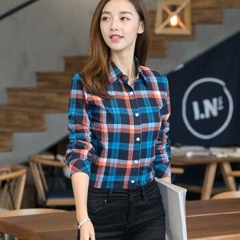 2019 Spring New Fashion Casual Lapel Plus Size Blouses Women Plaid Shirt Checks Flannel Shirts Female Long Sleeve Tops Blouse 4