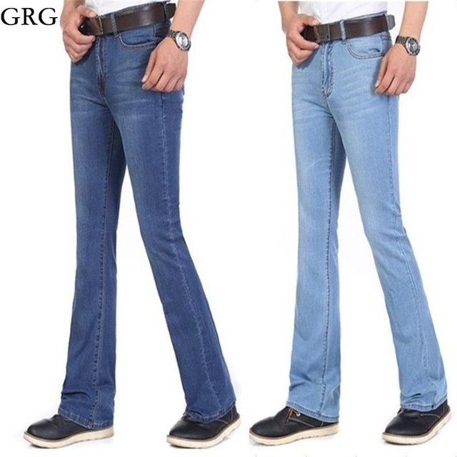 Free Shippping Men's Summer clothing fashion bell bottom jeans male slim  semi-flared male jeans trousers ultra-thin