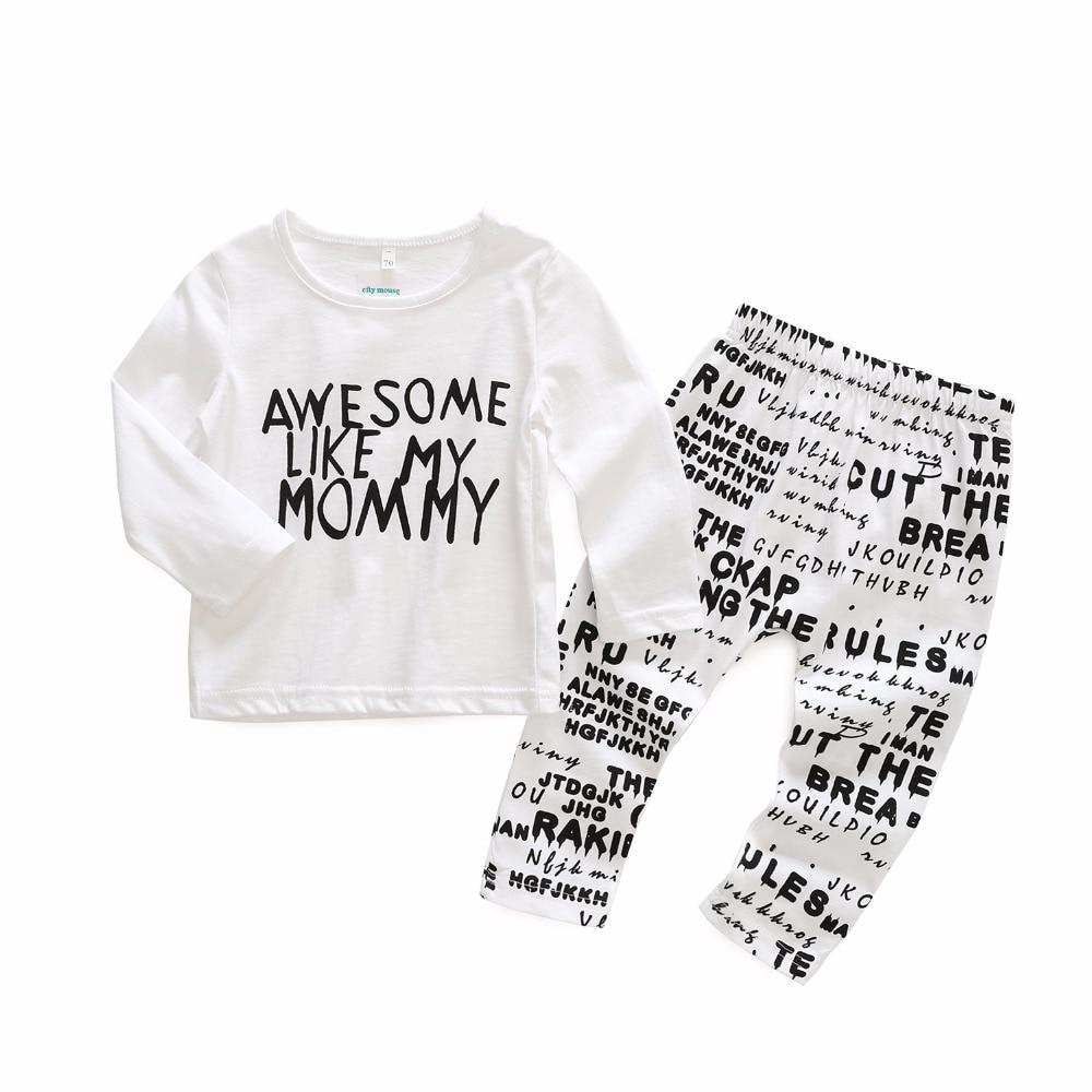 Bebé niña niño conjuntos de algodón recién nacido conjuntos de ropa  infantil de primavera ropa carta de moda blanco chico s traje chico camiseta  Pantalones ... b2a06fc8d7ab