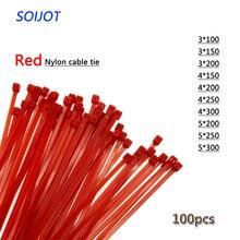 Самоблокирующиеся пластиковые нейлоновые кабельные стяжки на молнии 100 шт. красные кабельные стяжки для крепления кабеля различные характеристики