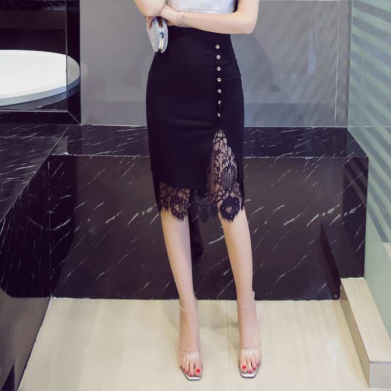 Lace Patchwork Office Pencil Midi Bodycon Skirt 8