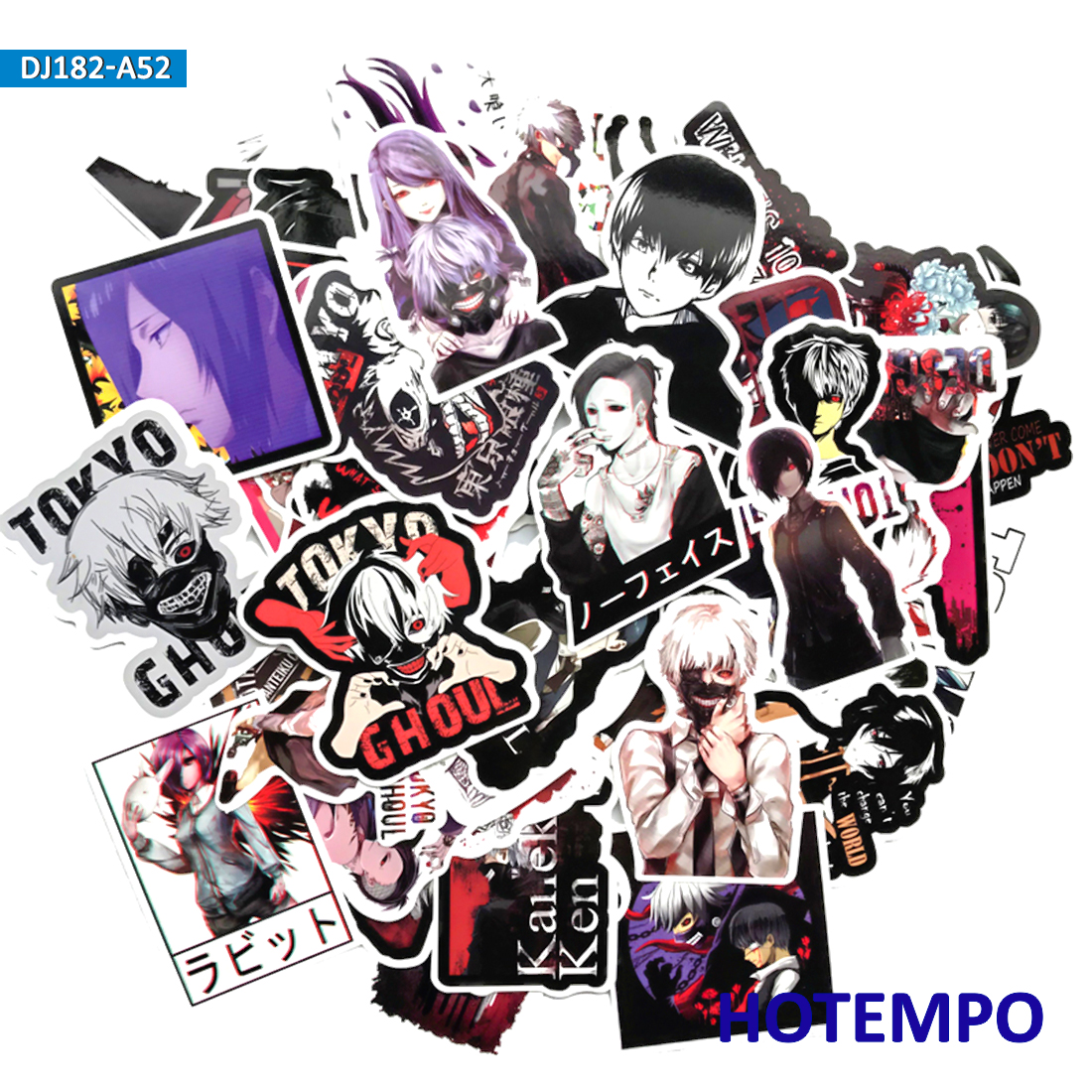 50pcs Japanese Manga Tokyo Ghoul Stickers For Mobile Phone Laptop Luggage Guitar Case Skateboard Fixed Gear Bike Car Stickers