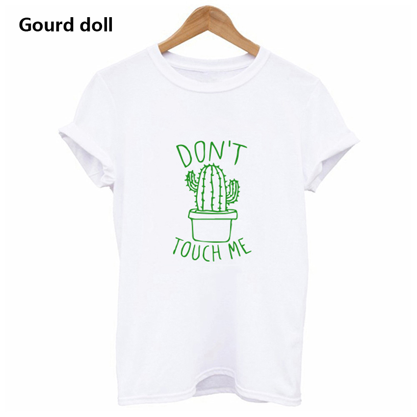 Cactus Printed Women's T-Shirt Cotton Harajuku Summer Female Top Tee For Lady Girl Funny Round neck T-shirts Hipster Tumblr 5
