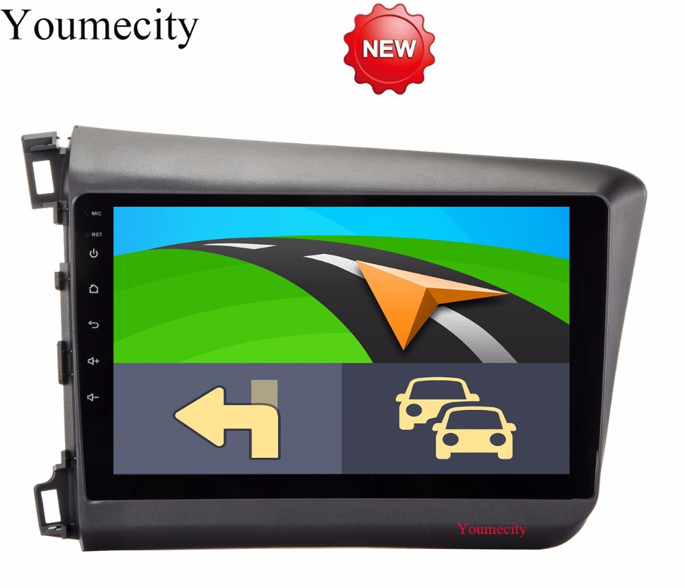 Youmecity NEW!!4G Android 8.1 2 DIN 9' Octa Core Car dvd Video GPS For Honda Civic 2012-2013 Screen 1024 *600 RDS+wifi+Radio youmecity car dvd player gps navi for honda crv 2007 2011 ips capacitive screen 1024 600 wifi bt swc rds android 8 1 2g ram