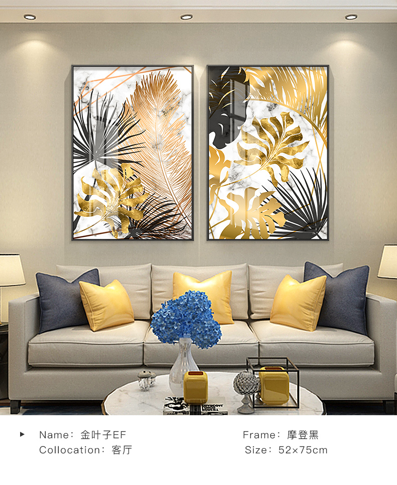 HTB1KH9oXLfsK1RjSszbq6AqBXXaI Nordic plants Golden leaf canvas painting posters and print wall art pictures for living room bedroom dinning room modern decor