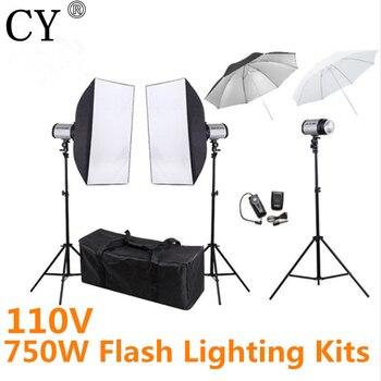 CY Photo Studio Set Softbox 110V 750ws Flash Lighting Kits Photography Studio Equipment Godox 250DI