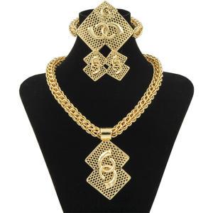 Necklace Earrings Jewelry-Sets African Beads Chunky Nigerian Gold Wedding Women Luxury