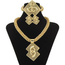 Wholesale Luxury Nigerian Women Wedding Jewelry Sets Big Chunky Necklace Earrings Bridal Dubai Gold African Beads Jewelry Set(China)