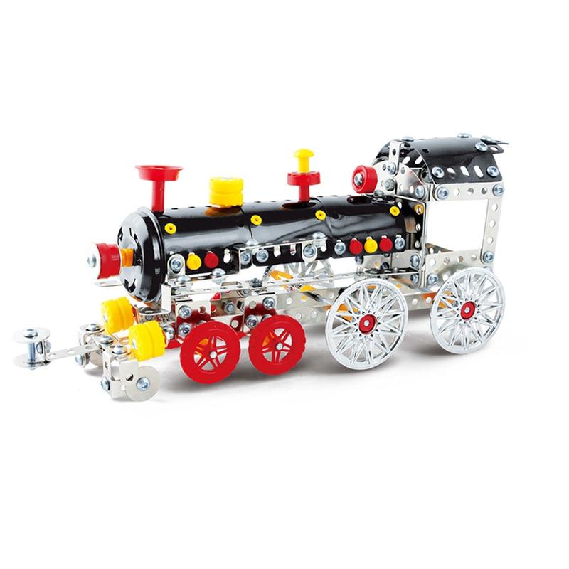Toy Train Head DIY Assembly Metal Alloys Model Building Blocks Toys Kit for Kids