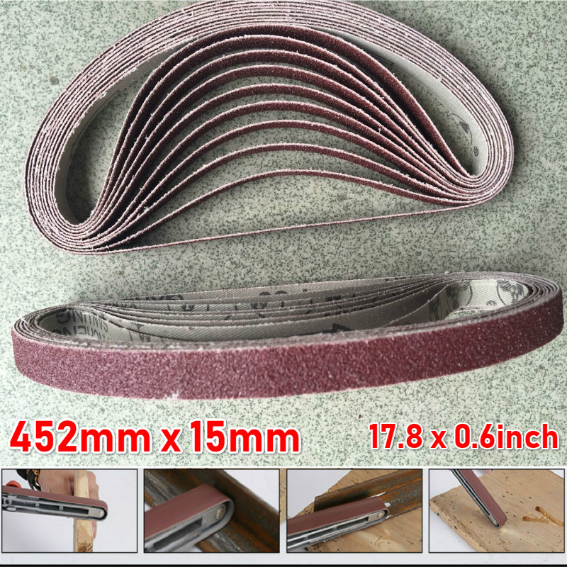 452*15mm 60#-600# Grit Grinding Polishing Metal Wood Sanding Belt Abrasive 10pcs