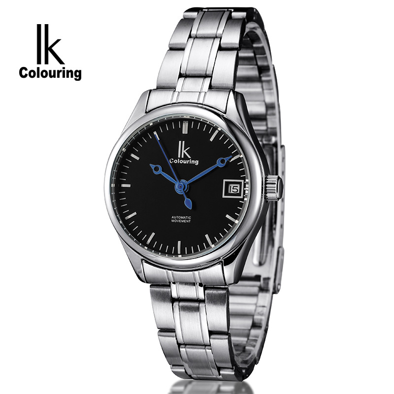 IK Colouring Fashion Lover's Men Women Mechanical Day Watch Auto Stainless Steel Watches Wristwatch Free Ship ik luxury fashion casual stainless steel men automatic mechanical watch skeleton watch for men s dress wristwatch free ship