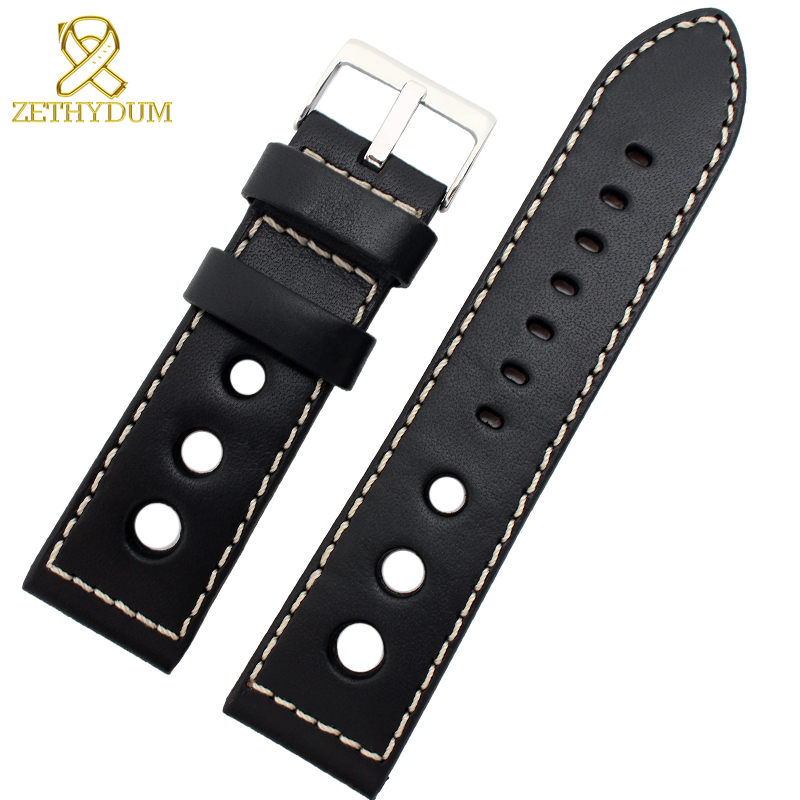 Genuine leather Watchband 20 22 24mm mens bracelet thick leather watch strap Round hole stitched wristwatches belt Pin buckleGenuine leather Watchband 20 22 24mm mens bracelet thick leather watch strap Round hole stitched wristwatches belt Pin buckle