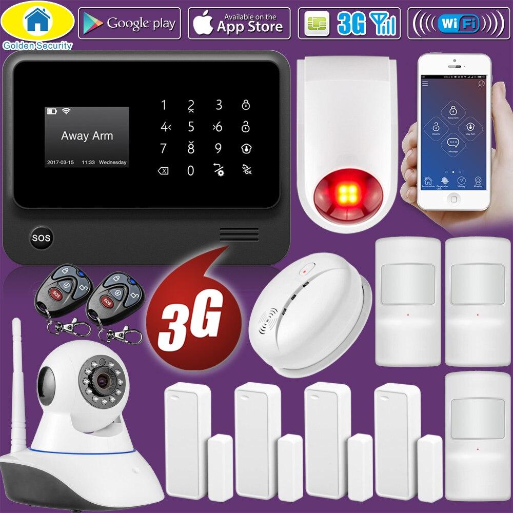 Sécurité dorée bricolage G90B Plus 3G GSM WIFI universel APP contrôle sécurité à domicile intelligent système d'alarme incendie maison avec IP