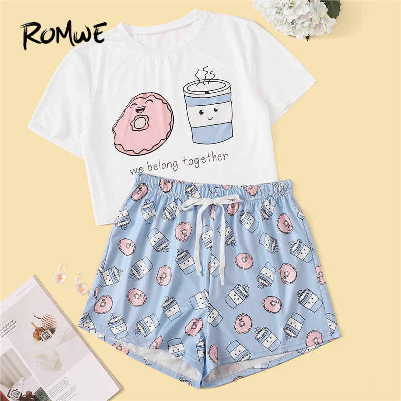 ROMWE 女性漫画とレタープリントパジャマセット甘い半袖 Tシャツ伸縮性ウエストショートパンツ夏パジャマ PJ セット
