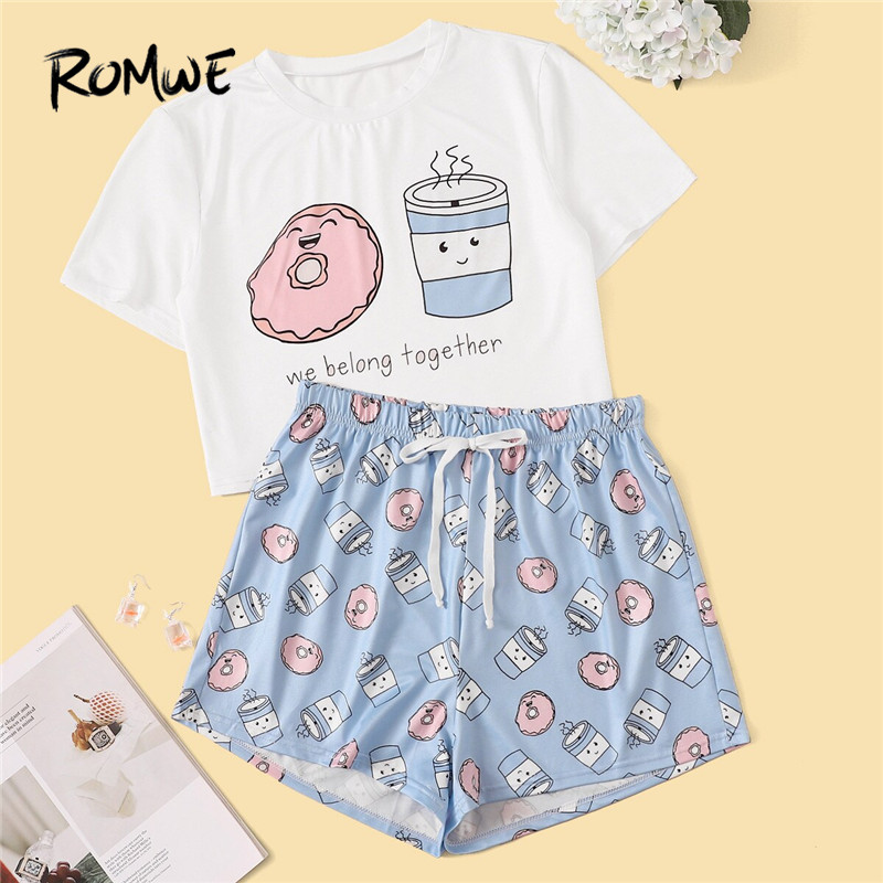 ROMWE Woman Cartoon And Letter Print Pajama Set Sweet Short Sleeve T Shirts With Elastic Waist Shorts Summer Sleepwear PJ Set