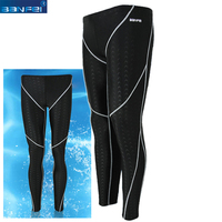 BANFEI Athletic Competitive Swimming Shorts Long Pants Men Quick Dry Swimming Trunks Jammers Swimwear Diving Wetsuit