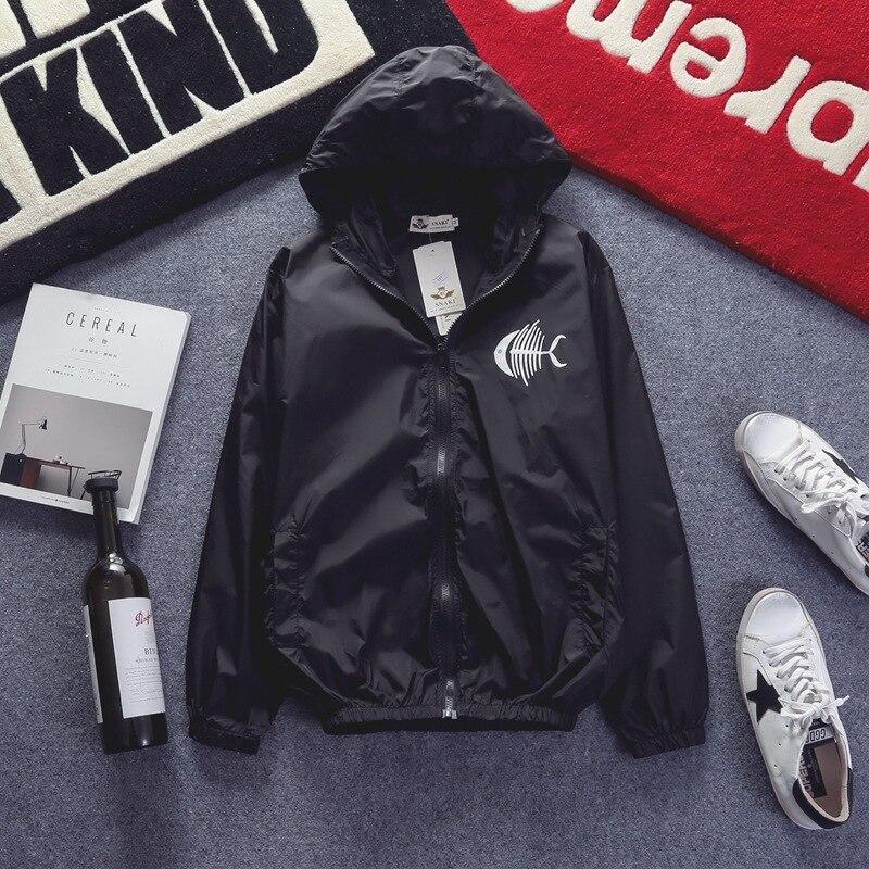 YuWaiJiaRen Mens Jacket Hooded Bomber Jackets Fashion Thin Zipper Personality Black Cat Printing Coat Brand Clothing