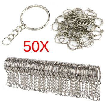 50pcs/lot Dia 25mm Polished  Keyring Keychain Split Ring With Short Chain Key Rings Women Men DIY Chains Accessories - discount item  27% OFF Fashion Jewelry