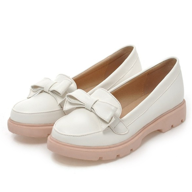 Plus size 34-43 platform flat shoes Round Toe woman spring Autumn sweet casual women flats bowtie Slip-On ladies Leather shoes spring summer women leather flat shoes 2017 sweet bowtie flats women shoes pointed toe slip on ladies shoes low heel shoes pink