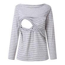 ARLONEET для беременных, полосатая блузка для кормления грудью, женские топы в полоску с длинными рукавами и круглым вырезом, g0509