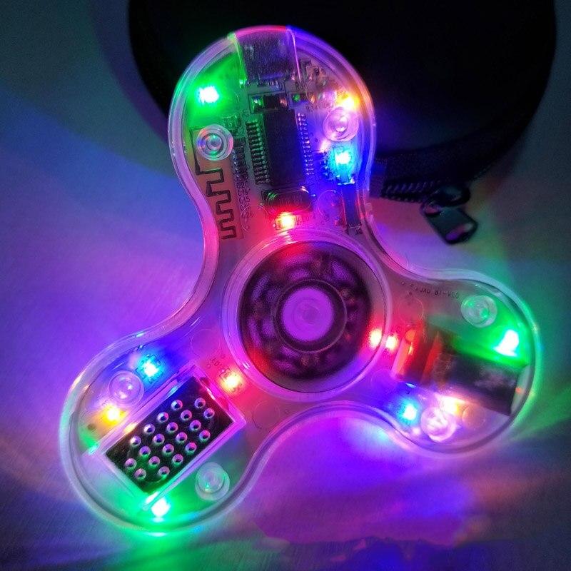 100pcs DHL Clear Hand Spinner Bluetooth Speaker Led light Glow in the Dark Wireless Fidget Spinner