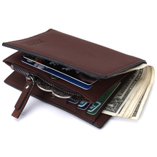 все цены на Genuine Leather Wallet Men Money Clip Mini Wallets Male Vintage Style Brown Grey Hasp Purse онлайн