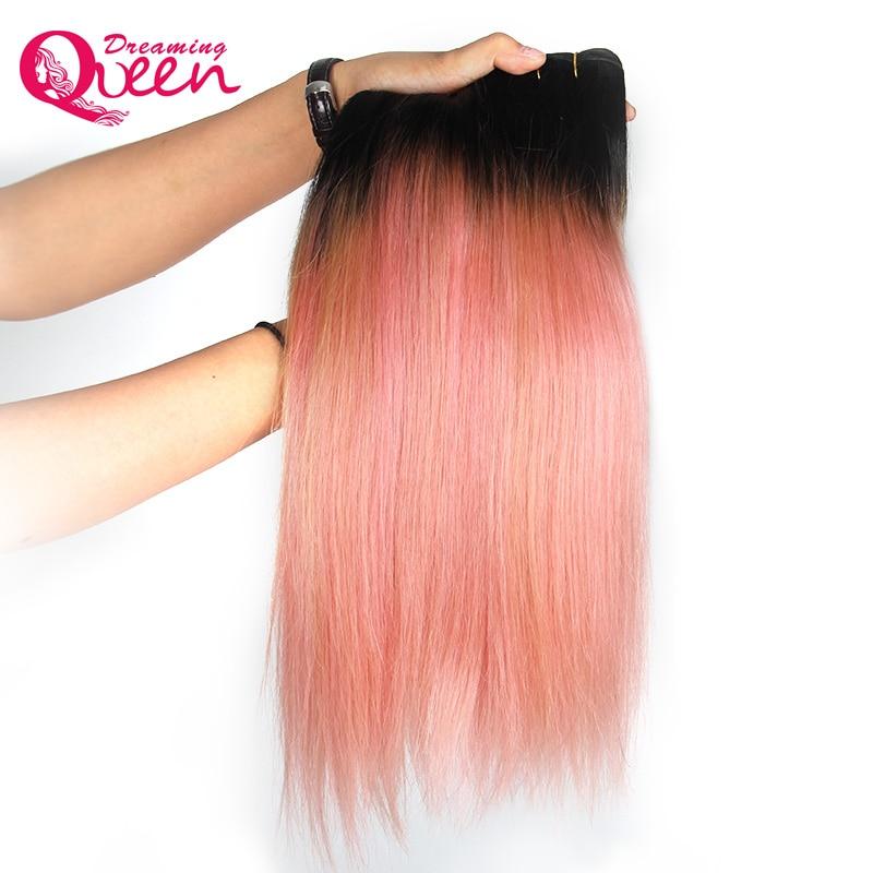 3 Paketler Gül Altın Renk Brezilyalı Düz İnsan Saç Dokuma - İnsan Saçı (Siyah)