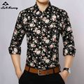 2017 Fashion Men Shirts Casual Long Sleeve Print Clothes Slim Fit Man Shirts High Quality Cotton Mens Dress Style Plus Size 3XL