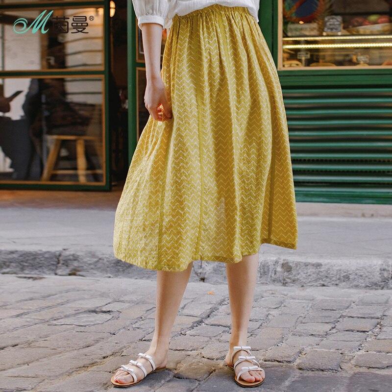 INMAN Summer Wear Mid-length Skirt Literature Floral Print Skirt Women Knee-length Skirt