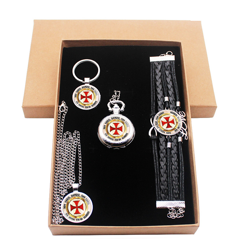 Classic Silver Knight Templar Cross Jewelry Gift Set Have Pocket Watch And Pendant Necklace And Key Chain Bracelet With Gift Box