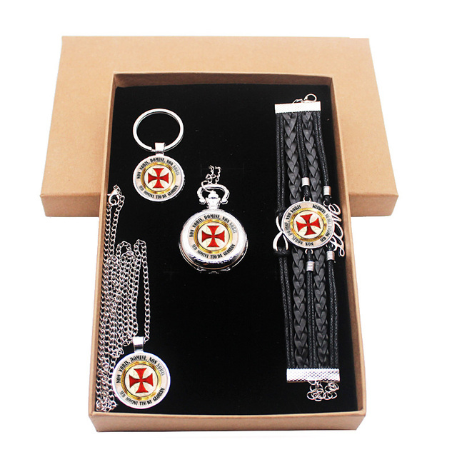 Classic Silver Knight Templar Cross Jewelry Gift Set Have Pocket Watch And Penda