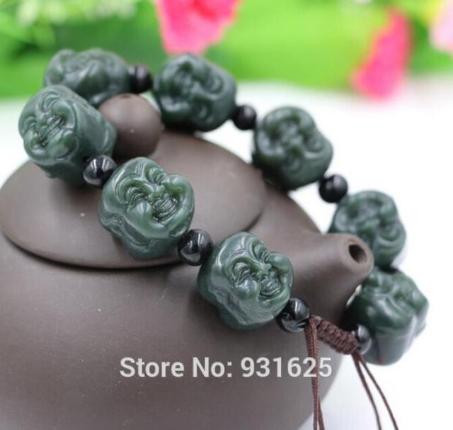 Natural Hetian Jade Laughing buddha rebordea la pulsera ajustable verde Jade pulseras Fine Jade joyería para mujer hombre
