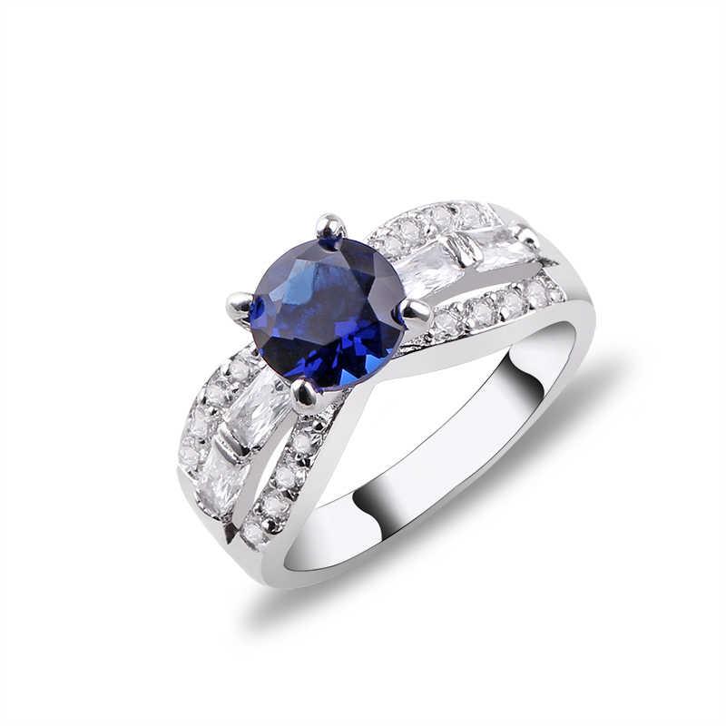 Высококачественные кольца принцессы с красным синим розовым кубическим цирконием для женщин, свадебные украшения anel anillos aneis bagues femme подарок