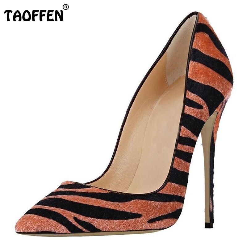 ФОТО New Elegant Women Pumps Flock Zebra Pointed Toe Thin High Heels Pumps Woman Fashion High Quality Party Shoes Size 35-46 B086