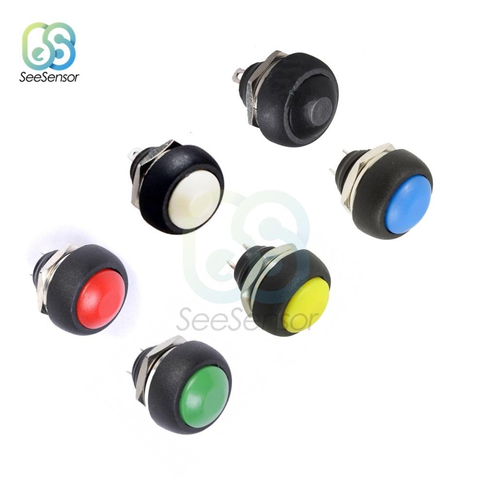 10PCS Yellow 12mm Waterproof momentary Push button Switch Mini Round Switch