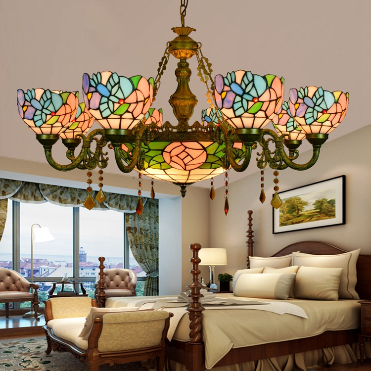 Tiffany Baroque Flesh flower Stained Glass Suspended Luminaire E27 110 240V Chain Pendant lights for Home Parlor Dining Room - 3