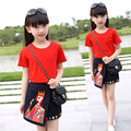 Girls Clothing Sets Cotton T-Shirts For Girls Skirts 2Pcs 4 6 8 10 12 14 Years Summer Kids Clothes Girls Vintage School Uniform