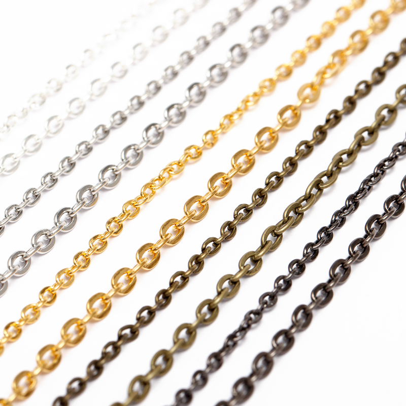 5m/lot Rhodium/Silver/Gold/Gunmetal/Antique Bronze Plated Necklace Chains Brass Bulk for DIY Jewelry Making Materials Components