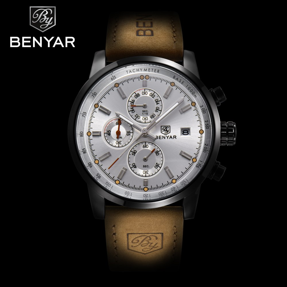 2017 New Top Brand Luxury BENYAR Men Watches Fashion Chronograph Sport Military Quartz Waterproof Watch Clock Relogio Masculino