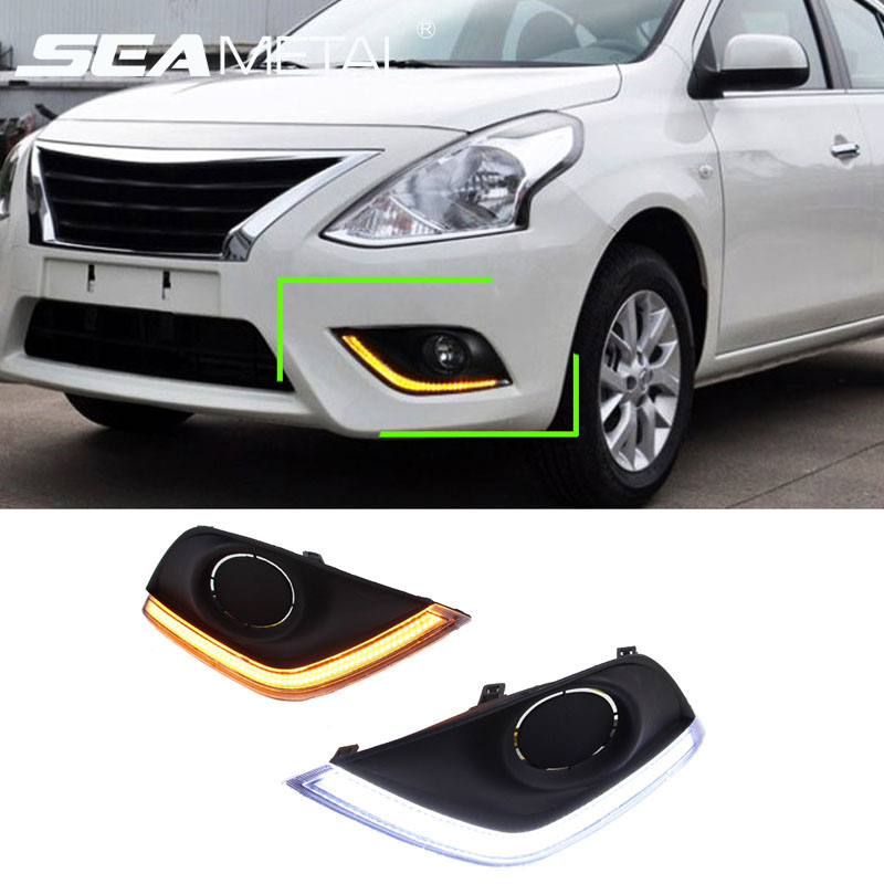 For America Nissan Versa 2015 2016 2017 12V Car LED DRL Daytime Running Light Sourse Fog Lamp With Turning Signal Super Bright
