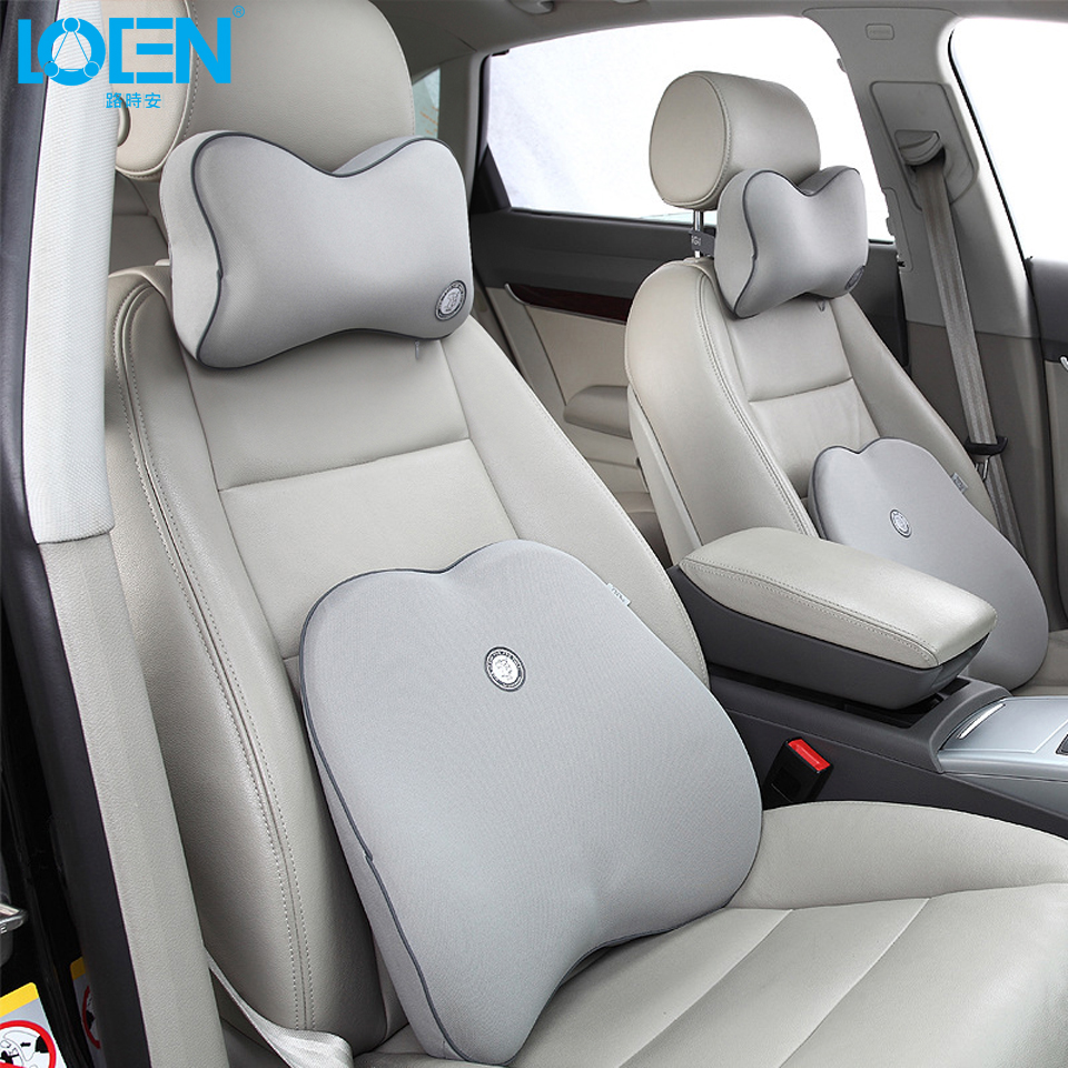 High quality car neck cushion waist support set with 11 colors solid car lumbar support back