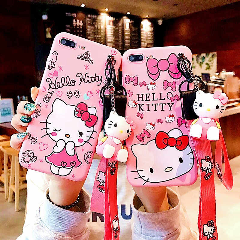 Cute Kitty Cat Bracket + lanyard funda para iphone 11Pro MAX 7 Xs Max 6 8Plus Xr de TPU suave con dibujos animados Rosa soporte funda para teléfono