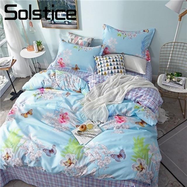 Solstice Home Textile Girls Bedding Sets Child Adult Linen Flower Blue Duvet Quilt Cover Pillowcases Bed Sheet Queen Twin 3/4Pcs