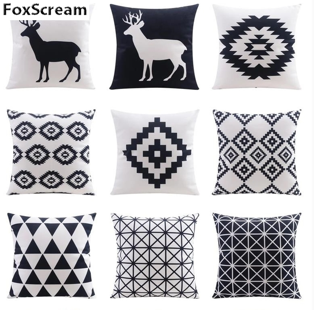 Home Textile Decorative Pillows Geometric Case Gray Cushion Cover Decor Linen Cushions For Sofa