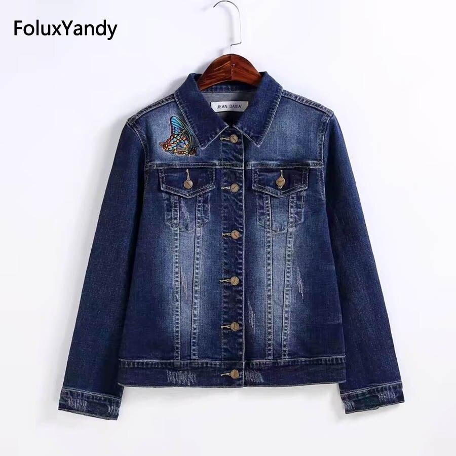 Embroidery Denim Jackets Women Coats Plus Size 3 4 XL Single Breasted Regular Jackets Blue KKFY929
